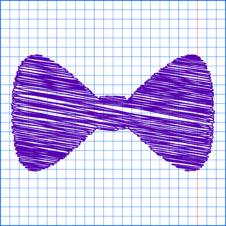 black bow: Vector Black Bow Tie icon with pen and school paper effect Illustration