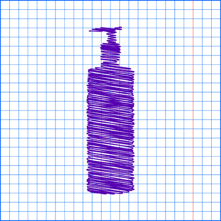 silhuette: Gel, Foam Or Liquid Soap Dispenser Pump Plastic Bottle silhuette with pen and school paper effect