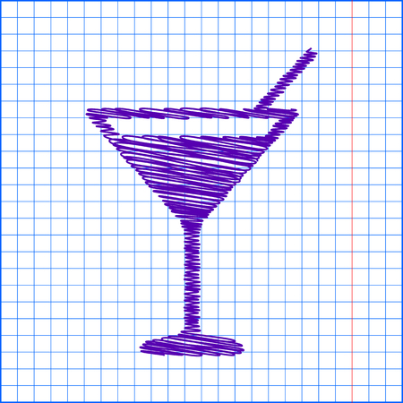 coctail: Coctail icon with pen and school paper effect Illustration