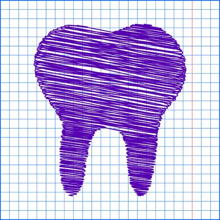 toothcare: Tooth Icon with pen and school paper effect Illustration