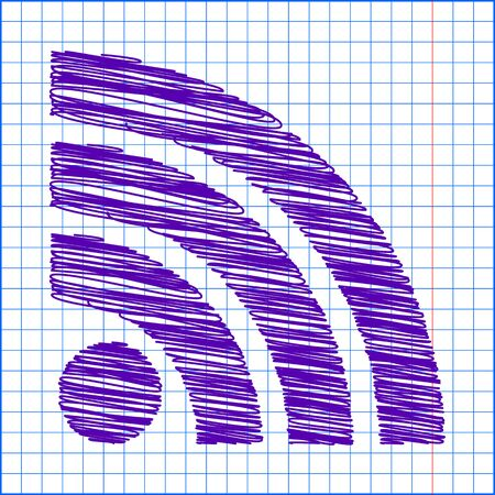 rss sign: RSS sign icon. RSS feed symbol with pen and school paper effect