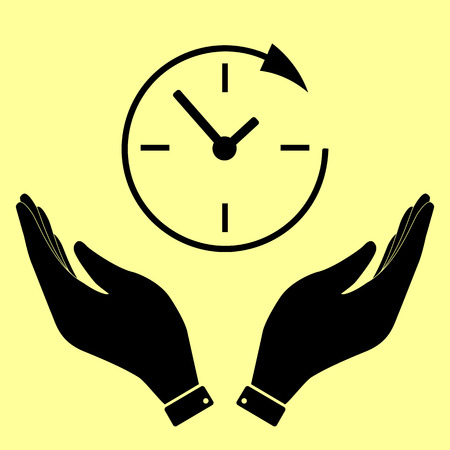 around the clock: Service and support for customers around the clock and 24 hours. Flat style. Vector illustration.