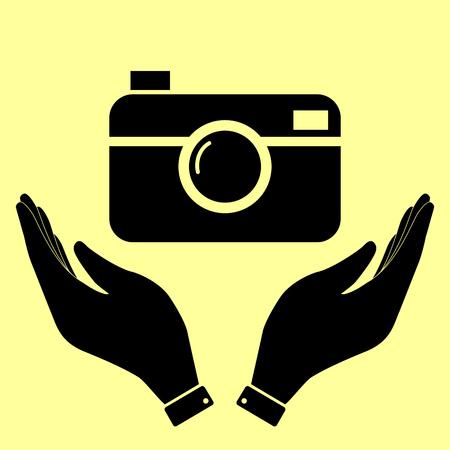 Digital photo camera icon. Flat style icon vector illustration.