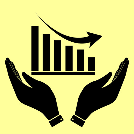 declining: Declining graph sign. Flat style icon vector illustration.