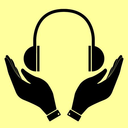 portable audio: Headphones sign. Flat style icon vector illustration.