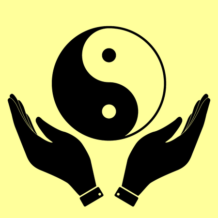 yang style: Ying yang symbol of harmony and balance. Flat style icon. Black vector illustration. Illustration