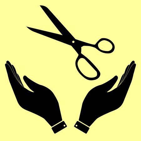 scissors cutting paper: Scissors sign. Flat style icon vector illustration.