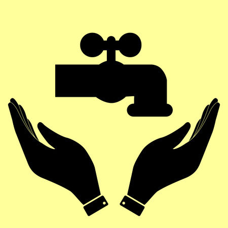 spew: Water faucet sign. Flat style icon vector illustration.