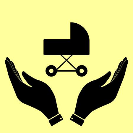 pram: Pram sign. Flat style icon vector illustration.
