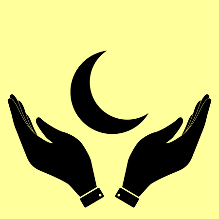 afterglow: Moon sign. Flat style icon vector illustration.