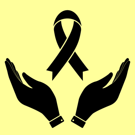 substance abuse awareness: Black awareness ribbon sign. Flat style icon vector illustration.