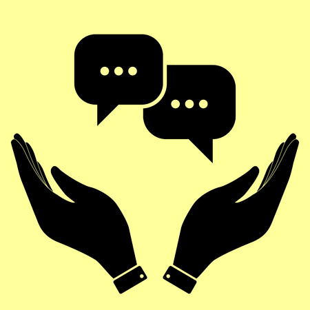 html5: Speech bubbles sign. Flat style icon vector illustration. Illustration