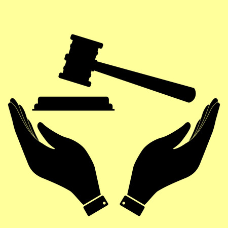 justice hammer: Justice hammer sign. Flat style icon vector illustration.