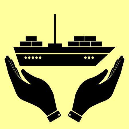 inflate boat: Ship sign. Flat style icon vector illustration.