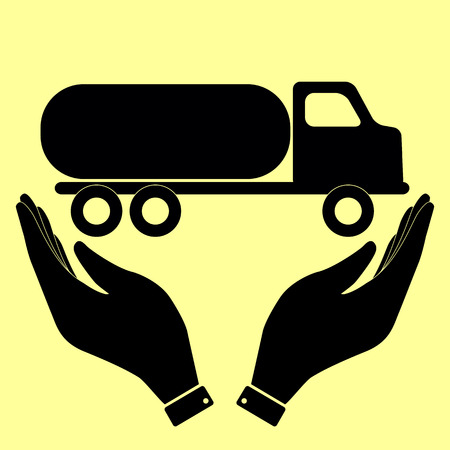 fabrication: Car transports sign. Flat style icon with hands Illustration