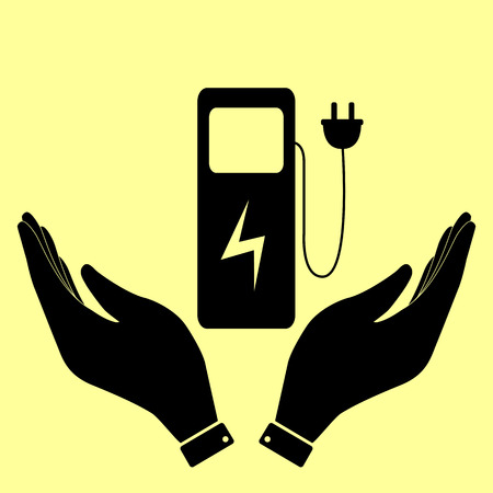 power station: Electric car charging station sign. Flat style icon vector illustration. Illustration