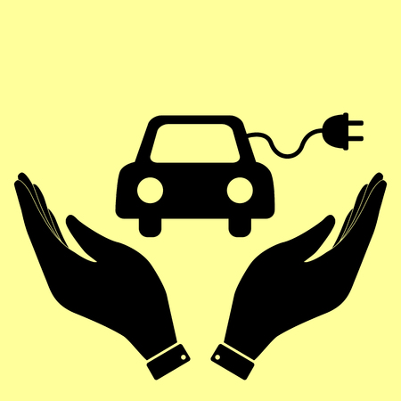 echnology: Eco electrocar sign. Flat style icon vector illustration.