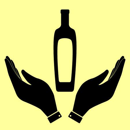 salad dressing: Olive oil bottle sign. Flat style icon vector illustration.