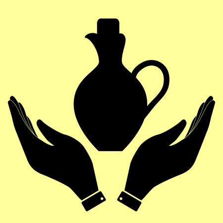 greek pot: segno Amphora. Piatto stile icona illustrazione vettoriale.