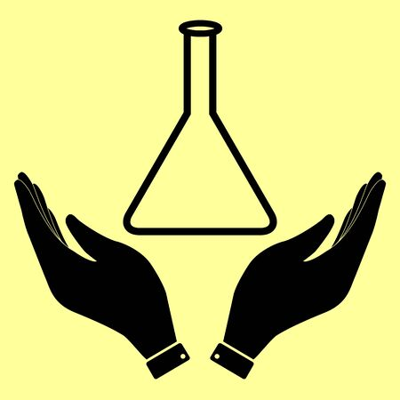 conical: Conical Flask sign. Flat style icon vector illustration.