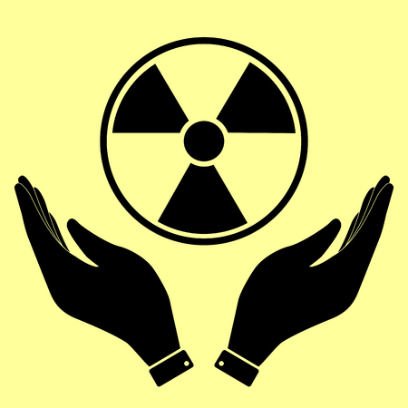 radiological: Radiation Round sign. Flat style icon vector illustration.
