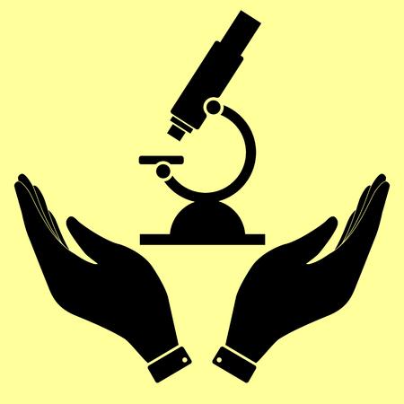 microscopio: signo microscopio. Icono de la ilustración vectorial de estilo plano. Vectores
