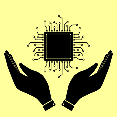 microelectronics: CPU Microprocesso. Flat style icon vector illustration.