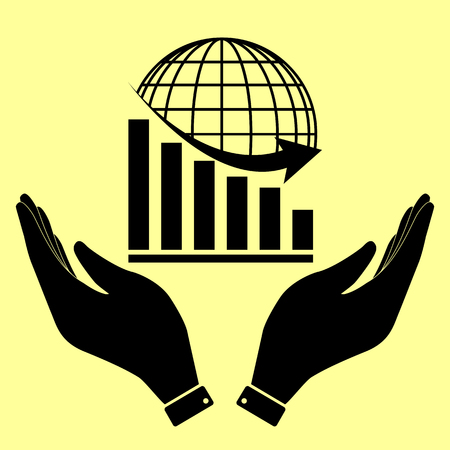 declining: Declining graph  with earth. Flat style icon vector illustration. Illustration