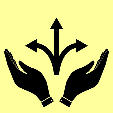 three points: Three-way direction arrow sign. Flat style icon vector illustration. Illustration