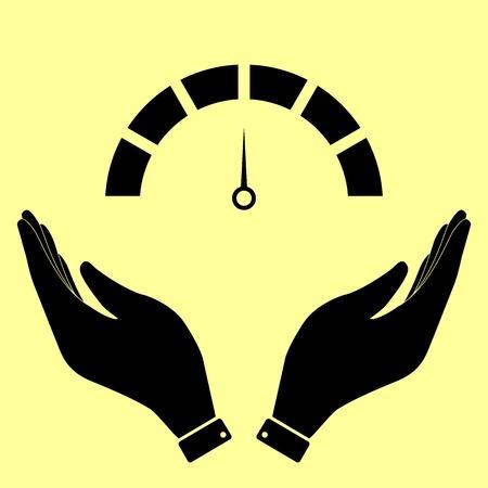 warning indicator: Speedometer sign. Flat style icon vector illustration. Illustration