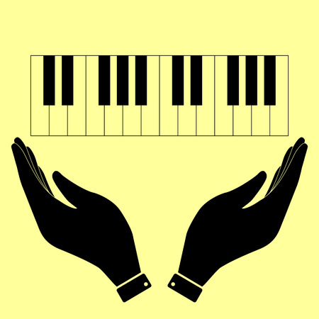 acoustically: Piano Keyboard  sign. Flat style icon vector illustration.