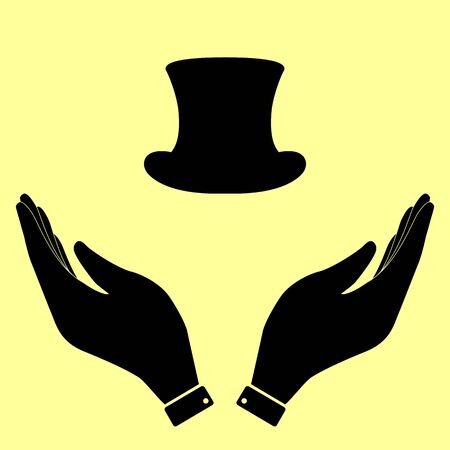 tophat: Top hat sign. Flat style icon vector illustration.