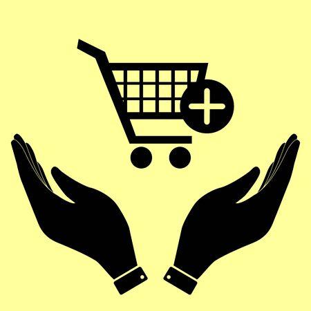 shoppingcart: Shopping Cart and add Mark Icon. Flat style icon vector illustration. Illustration