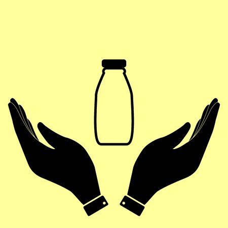 latte fresco: Latte segno bottiglia. Piatto stile icona illustrazione vettoriale.