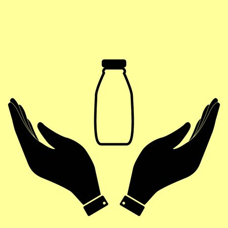 milk bottle: Milk bottle sign. Flat style icon vector illustration. Illustration