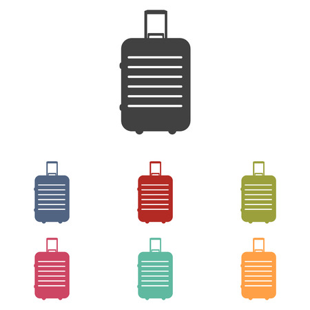 trolley case: Baggage vector icons set isolated on white background Illustration