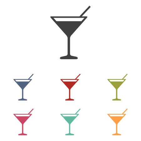 coctail: Coctail icons set isolated on white background