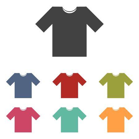 t short: T-shirt icons set isolated on white background