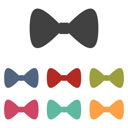 iconos del vector Negro Pajarita conjunto aislado sobre fondo blanco