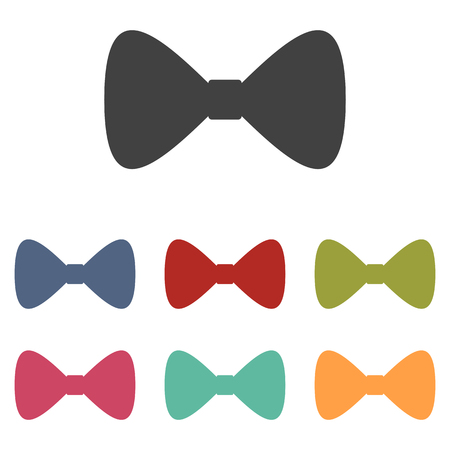 Vector Black Bow Tie icons set isolated on white background