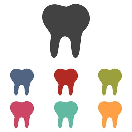 mouth pain: Tooth icons set isolated on white background