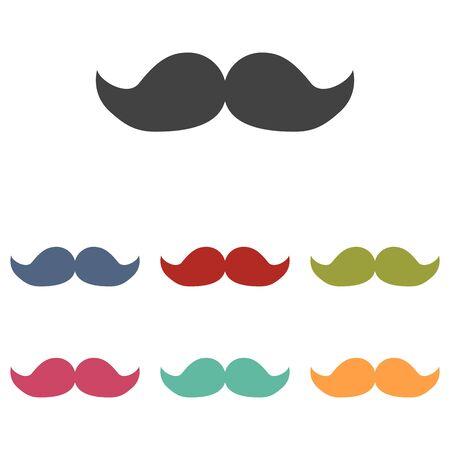 moustaches: Set of moustaches icons set isolated on white background