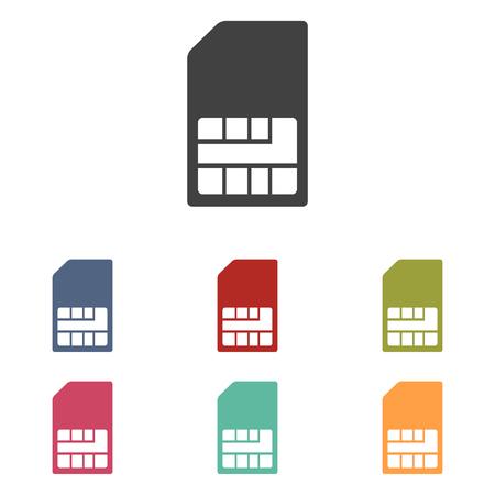 sim card: Sim card icons set isolated on white background