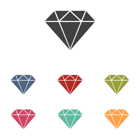 spoil: Diamond icons set isolated on white background