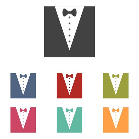 Tuxedo with bow silhouette icons set isolated on white background