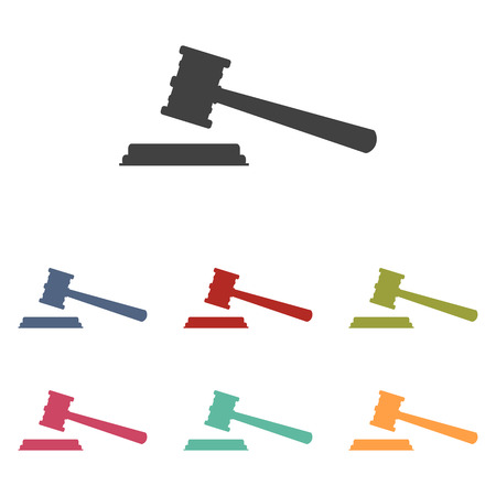 arbitrate: Justice hammer icons set isolated on white background Illustration