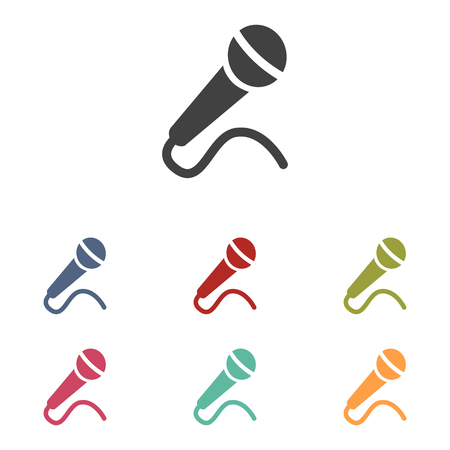 amplification: Microphone icons set isolated on white background Illustration