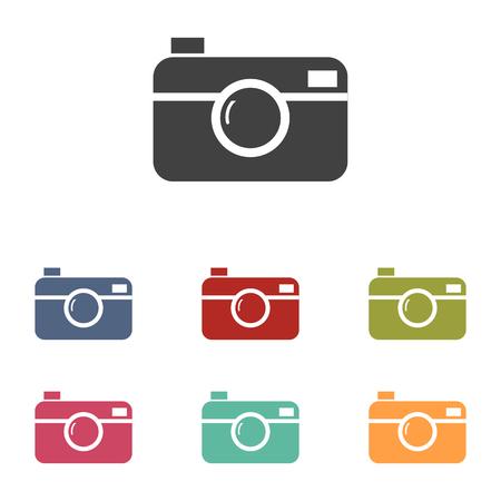 Digital photo camera icons set isolated on white background Illustration