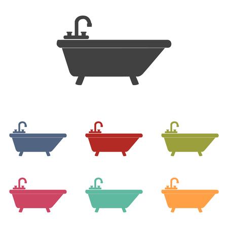 bathtub: Bathtub icons set isolated on white background Illustration
