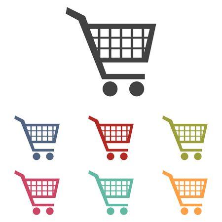 shoppingcart: Shopping cart icons set isolated on white background Illustration